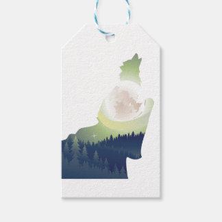 Lobo que grita en el bosque 3 de la noche etiquetas para regalos