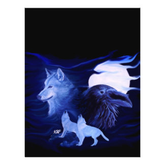Lobo y cuervo con la Luna Llena Tarjetones