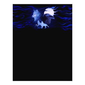 Lobo y cuervo con la Luna Llena Tarjeton