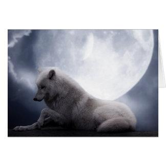 Lobo y luna impresionantes White Wolf Tarjeta De Felicitación