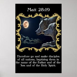 Lobos del 28:19 de Matt que miran en la Luna Llena Póster