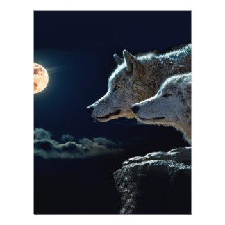 Lobos del lobo que gritan en la Luna Llena Folleto 21,6 X 28 Cm