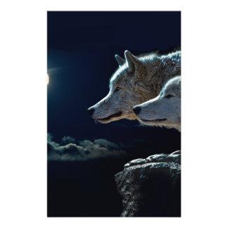 Lobos del lobo que gritan en la Luna Llena Folleto 14 X 21,6 Cm
