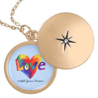 Locket azul del oro del corazón del arco iris de dijes