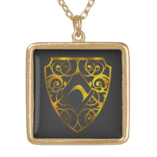 Locket cuadrado plateado plata media del club del collar dorado