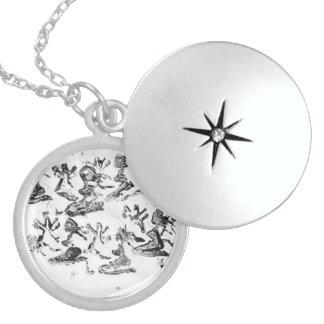 Locket de la plata esterlina de la corte del dique collar redondo