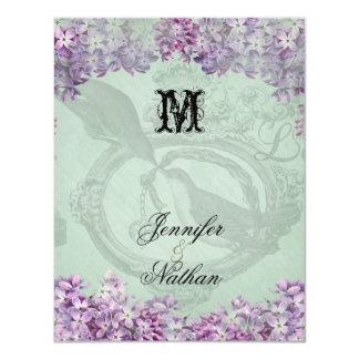 Locket de las lilas del vintage que casa la invitación 10,8 x 13,9 cm
