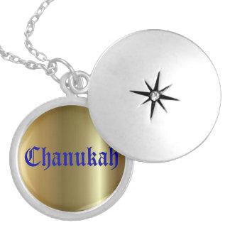 Locket plateado plata redonda de oro azul de Chanu Pendientes