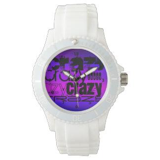 Loco; Azul violeta y magenta vibrantes Relojes De Mano
