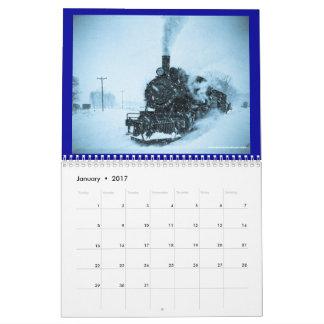 Locomotoras 2016 del ferrocarril del vintage del calendario de pared