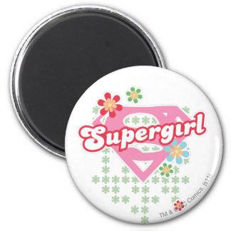 Locura de la flor de Supergirl Imán Redondo 5 Cm