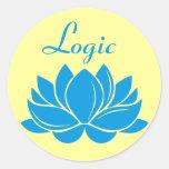 Lógica del flor de Lotus azul Etiquetas Redondas