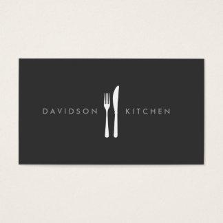 Logotipo 2 de la bifurcación y del cuchillo para tarjeta de negocios