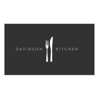 Logotipo 2 de la bifurcación y del cuchillo para tarjetas de visita