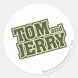Logotipo 3 de Tom y Jerry Pegatina Redonda