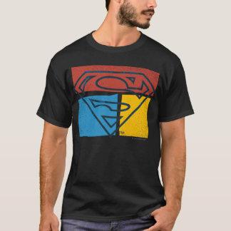 Logotipo amarillo azul rojo del bloque del camiseta
