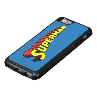 Logotipo amarillo de las letras del rojo del funda otterbox para iPhone 6/6s