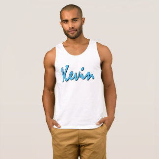 Logotipo azul de Kevin en las camisetas sin mangas