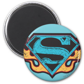 Logotipo azul de Supergirl con las llamas Imán Redondo 5 Cm