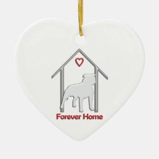 Logotipo blanco para siempre casero de Pitbull Adorno Navideño De Cerámica En Forma De Corazón