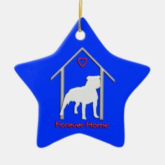 Logotipo blanco para siempre casero de Pitbull Adorno Navideño De Cerámica En Forma De Estrella