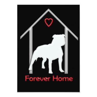 Logotipo blanco para siempre casero de Pitbull Invitación 12,7 X 17,8 Cm