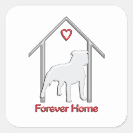 Logotipo blanco para siempre casero de Pitbull Calcomanía Cuadrada