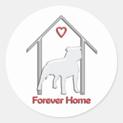 Logotipo blanco para siempre casero de Pitbull Pegatinas Redondas