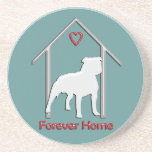 Logotipo blanco para siempre casero de Pitbull Posavasos Personalizados