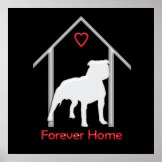 Logotipo blanco para siempre casero de Pitbull Póster