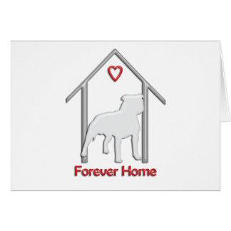 Logotipo blanco para siempre casero de Pitbull Tarjeta De Felicitación