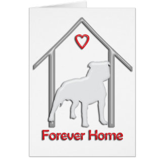 Logotipo blanco para siempre casero de Pitbull Tarjeton