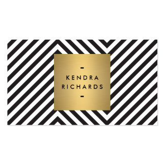 Logotipo blanco y negro retro del nombre del oro tarjetas de visita