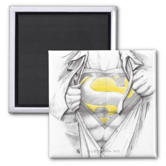 Logotipo bosquejado del superhombre del pecho imán cuadrado
