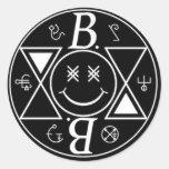 Logotipo Bromance Cara sonriente Pegatinas Redondas