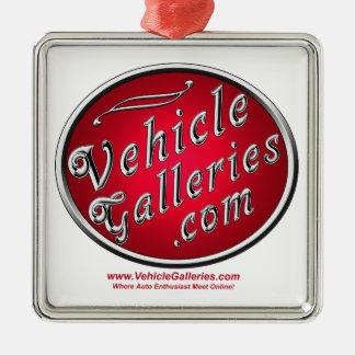 Logotipo clásico de www.VehicleGalleries.com Adorno Navideño Cuadrado De Metal