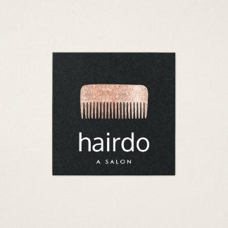Logotipo color de rosa del peine del estilista de tarjeta de visita cuadrada