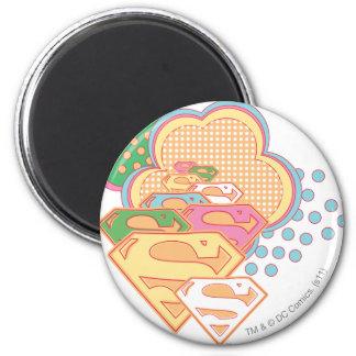 Logotipo colorido de la nube de Supergirl Imán Redondo 5 Cm