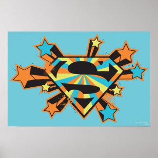 Logotipo colorido de las estrellas de Supergirl Póster