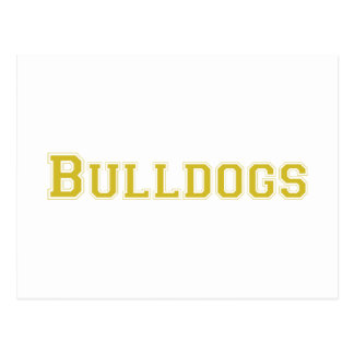 Logotipo cuadrado de los dogos en oro postal