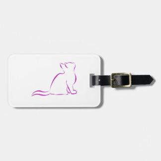 Logotipo de CCR/silueta rosada del gato Etiqueta Para Maletas