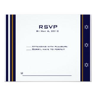 Logotipo de encargo 2 de Mitzvah RSVP de la barra Invitación 10,8 X 13,9 Cm