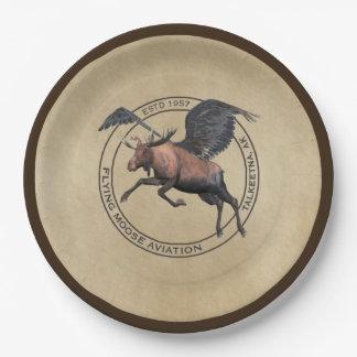 Logotipo de la aviación de los alces del vuelo plato de papel