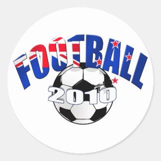 Logotipo de la bandera de Nueva Zelanda de la bola Etiquetas Redondas