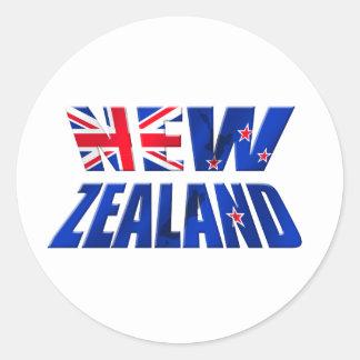 Logotipo de la bandera del kiwi de Nueva Zelanda Etiqueta Redonda