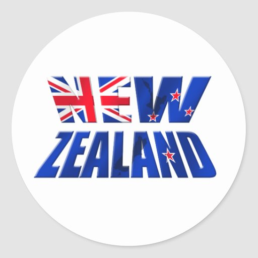 Logotipo de la bandera del kiwi de Nueva Zelanda Pegatinas Redondas