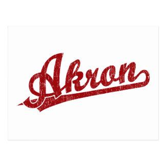 Logotipo de la escritura de Akron en rojo Postal