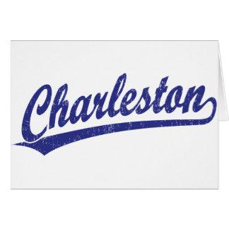 Logotipo de la escritura de Charleston en azul Tarjeton