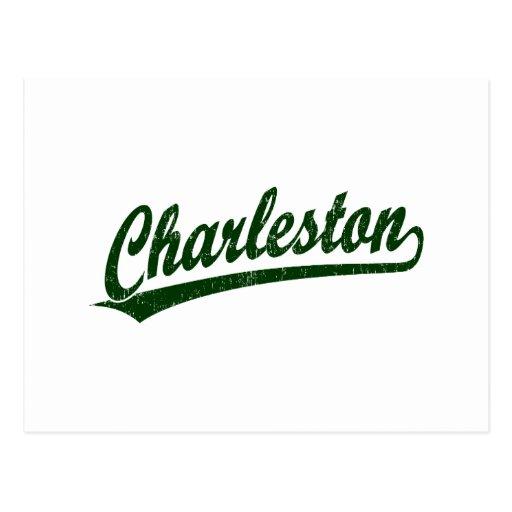 Logotipo de la escritura de Charleston en el verde Postales