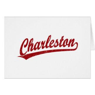 Logotipo de la escritura de Charleston en rojo Tarjeton